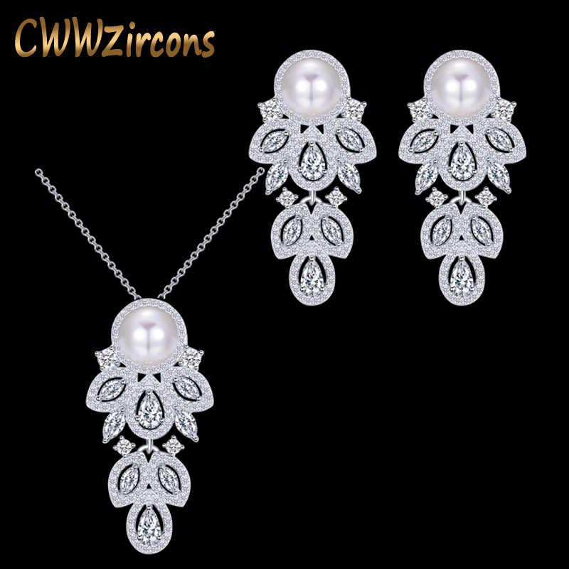 CWWZircons 2019 Fashion Brand Long Dangle CZ Crystal 925 Sterling Silver Pearl Necklace Earrings Jewelry Sets for Women T164