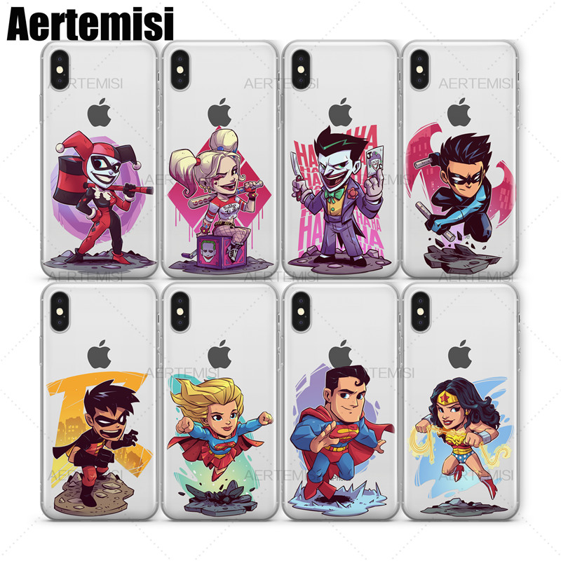 Aertemisi Clear TPU Case Cover for iPhone 5 5s SE 6 6s 7 8 Plus X Joker Nightwing Robin SuperGirl Superman Wonder Woman
