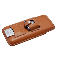 GENUINE LEATHER 3 Tubes Mini Travel Cigar Humidor Case Pocke