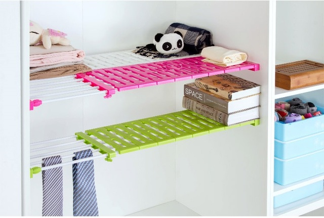 Wardrobe Layered Storage Parion Rack Retractable Clapboard Nail Free Shelf