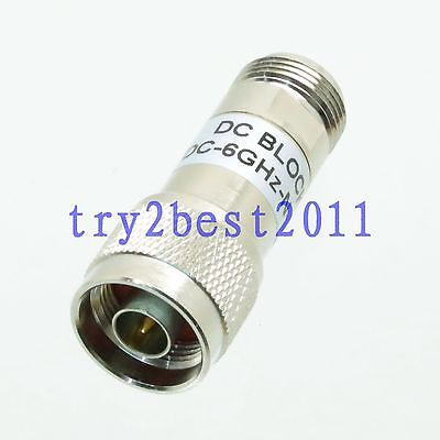 Attenuator N plug to Jack pin DC BLOCK DC 6.0GHZ RF coaxial Power 50.|plug dc|plug jack|plug pin - title=