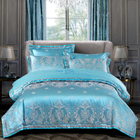 YeeKin 100% Cotton Satin Jacquard Embroidery Bedspreads King Queen Jacquard Satin Hotel Bedding Duvet Cover 4pc With Embroidery