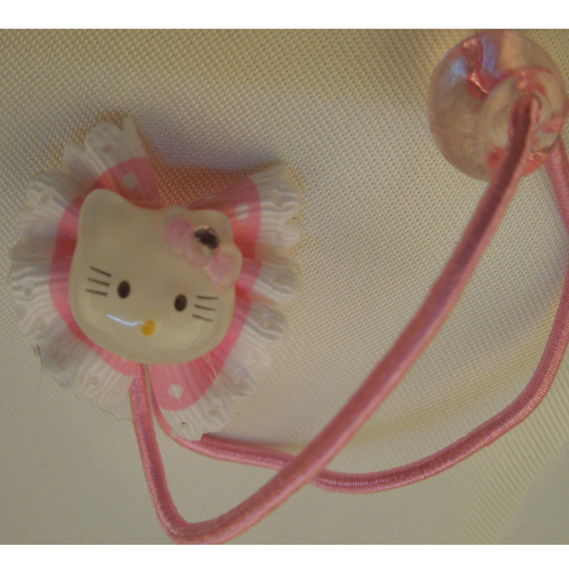 Small kt cat head mimi fine rubber band child pitching transparent beads hair accessory etpj-002