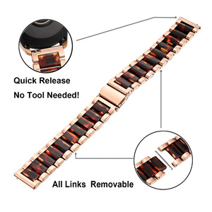 Image 3 - Stainless Steel & Resin Watchband for Samsung Galaxy Watch 42mm Active Active2 44mm 40mm Quick Release Band Women Strap RoseGold