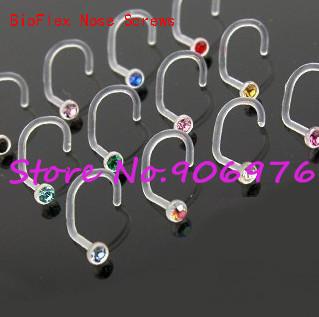 Uv Acrylic Flexible Clear Bioflex Nose Screws 2mm Gem Nose Ring
