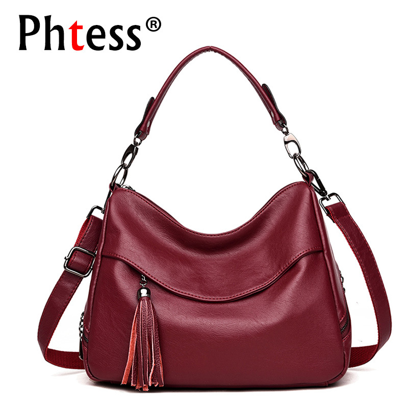 2019 Women Soft Leather Handbags High Quality Sac A Main Ladies Hand Bag Top-handle Vintage Leather Shoulder Bag Tassel Solid