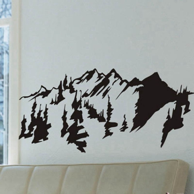 Chinese Style Mountains Trees Wall Art Decal Sticker