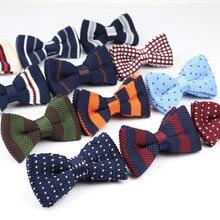 Новая стильная вязаная бабочка для мужчин и женщин, регулируемые двухслойные галстуки-бабочки, дизайнерское вязаное платье, вязаный галстук-бабочка