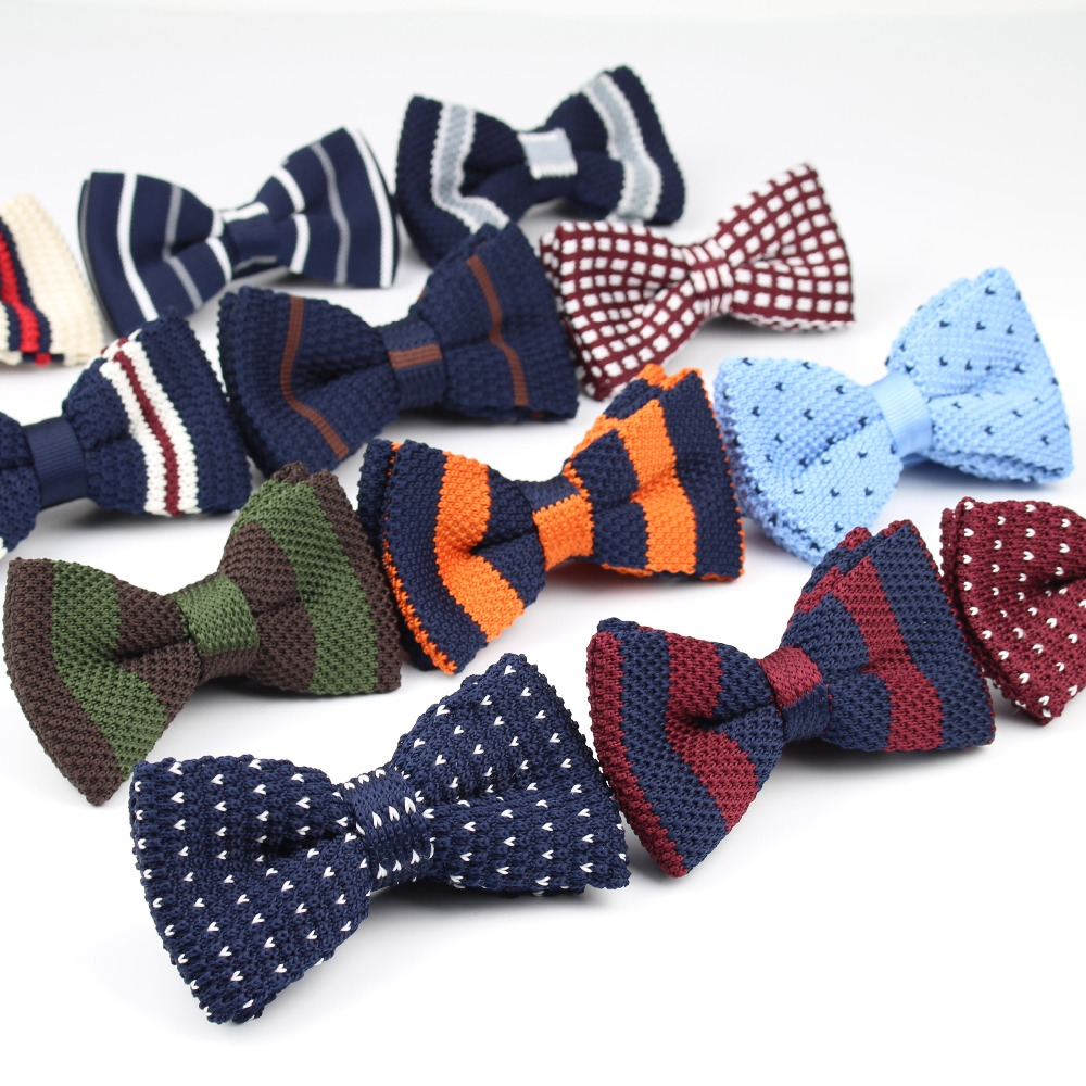 New Style Men Women Knit Bowtie Adjustable Butterfly Double Deck Neckwear Bowties Designer Knitting Dress Knitted Bow Tie