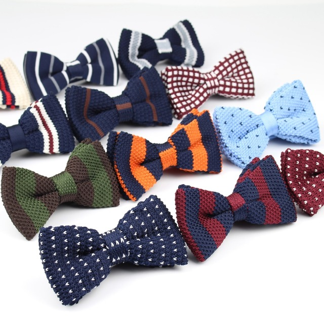 Adjustable Butterfly Cotton Knitted Bow Tie For Boys