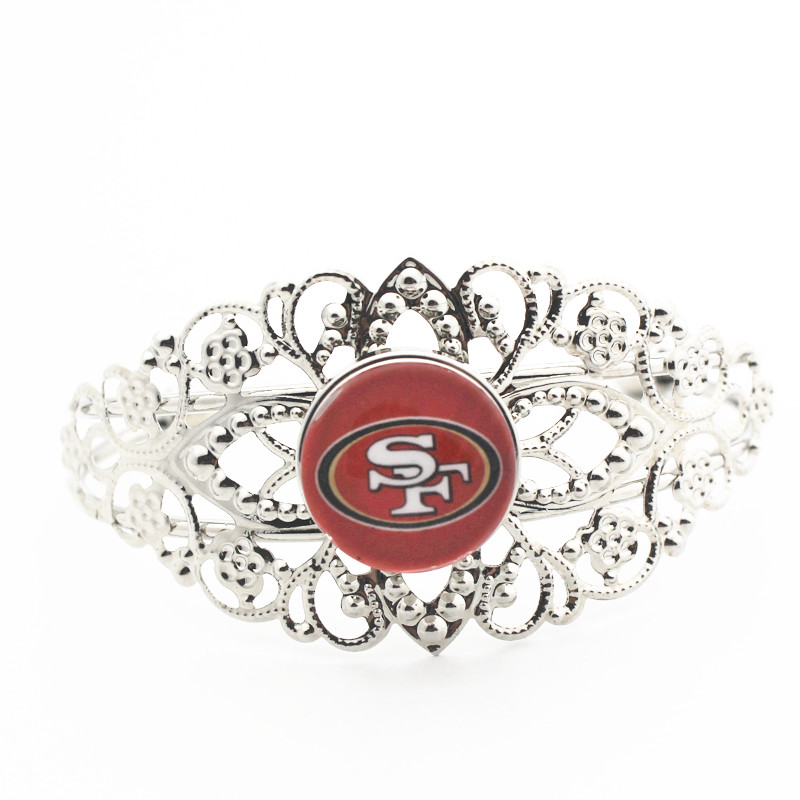 1pcs/lot San Francisco 49ers Football glass Alloy 18mm Snap Buttons Bracelet Team Sports Charms Expandable Silver bracelets