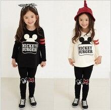 Детская одежда набор ребенок осень девочка установить Футболка с длинным рукавом топ брюки ребенок twinset весной и осенью