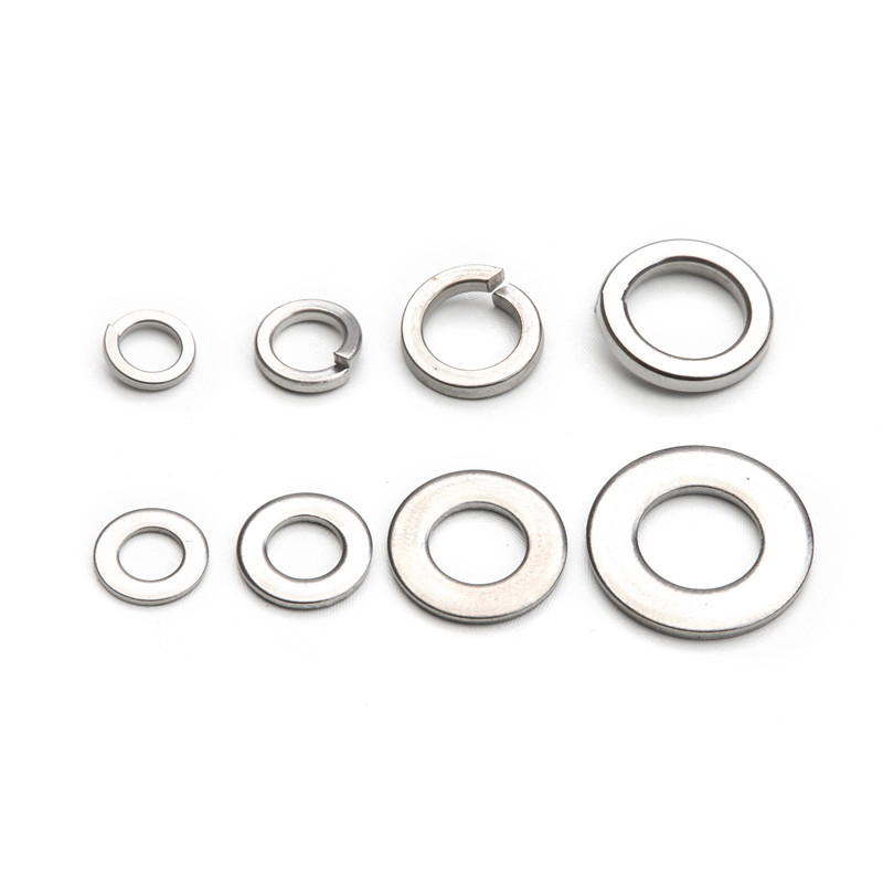 200PCS Stainless Steel Spring Flat Washers For M5 M6 M8 M10 Screws Bolts Gasket