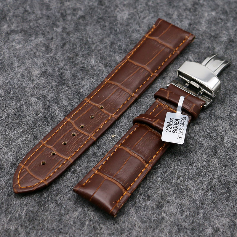 Black/Brown High Quality Genuine Leather Watch Band Men Women Wrist Watches Strap Butterfly Buckle 18/20/22mm PD0132-3