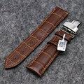 Preto / couro de alta qualidade de homens mulheres relógios de pulso pulseira de borboleta fivela 18 / 20 / 22 mm PD0132-3