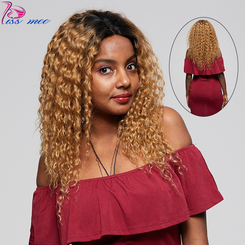 KISSMEE Water Wave Lace Front Human Hair Wigs For Black Women Brazilian Hair Ombre Lace Front Wig Blonde 1B#27 Remy Hair Wigs