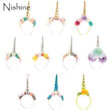 NISHINE Newborn Unicorn Headband Birthday Chiffon Flower Crown Kids Tiara Hair Bands Headwear Glittery Lovely Kids Hair Accessor