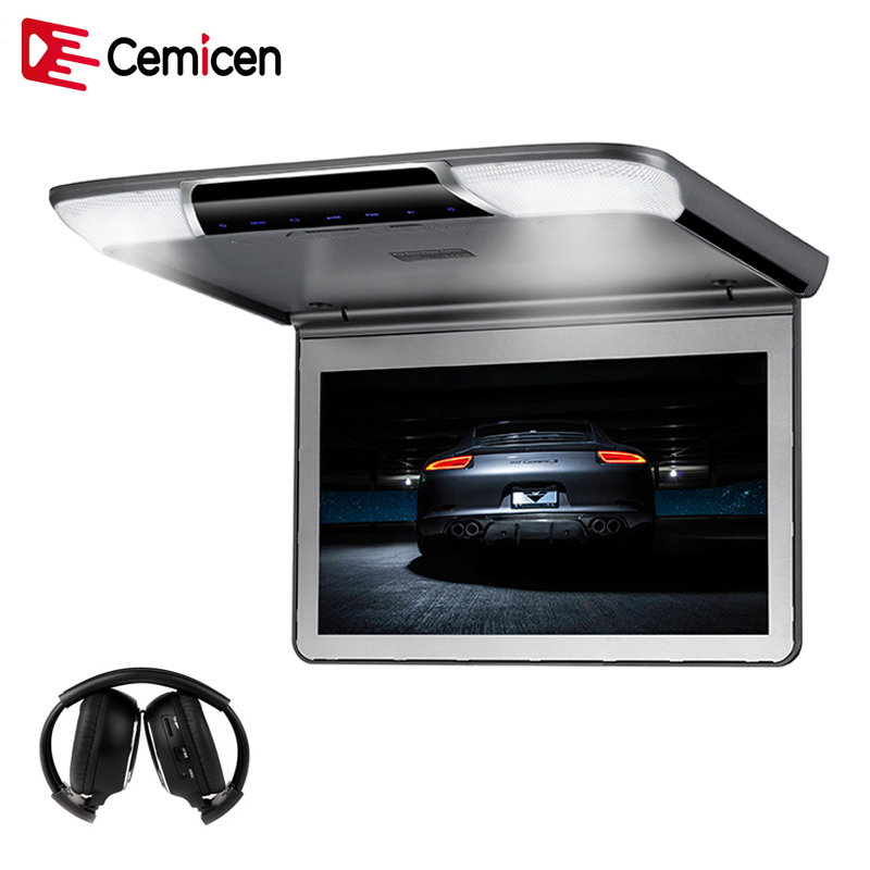 Cemicen 11 6 Inch Car Flip Down Roof Mount Ceiling Monitor with HDMI USB SD IR
