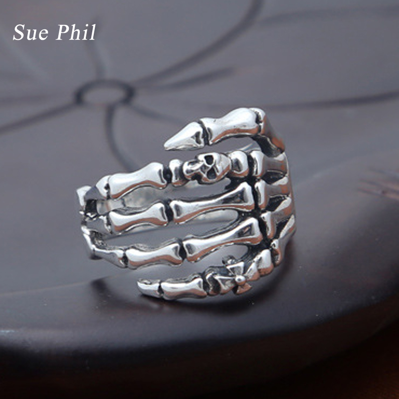 Sue Phil New 2018 925 Sterling Thai Silver Skeleton Rings Men Jewelry Skull Cross Ghost Claws Ring Gift Fine Women Jewelry велосипед ghost andasol cross 7 2016
