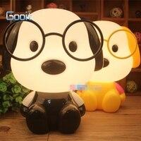 Cute Glasses Dog Cartoon Night Light Baby Room Kids Bed Lamp Sleeping Night Lamp Decoration Eyeshield