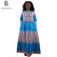 2017 In Spring And Summer African Womens Dresses Print Full Dresses For Women Geometric Women Style
