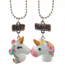 Hot 2PCS Set Best Friend Colorful Crystal Steed Horse Unicorn Pendant Necklaces Sweater Chain For Girl