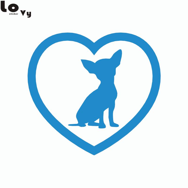 2st Söt Chihuahua Heart Dog Car Sticker Tecknad djurfönster - Exteriör biltillbehör - Foto 4