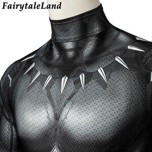 Image 4 - 3D Printing Black Panther Jumpsuit adult Men Carnival Halloween costume Black Panther Cosplay costume Superhero Spandex jumpsuit
