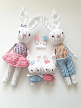crochet toys  amigurumi doll bunny  family  model    number XH0412035