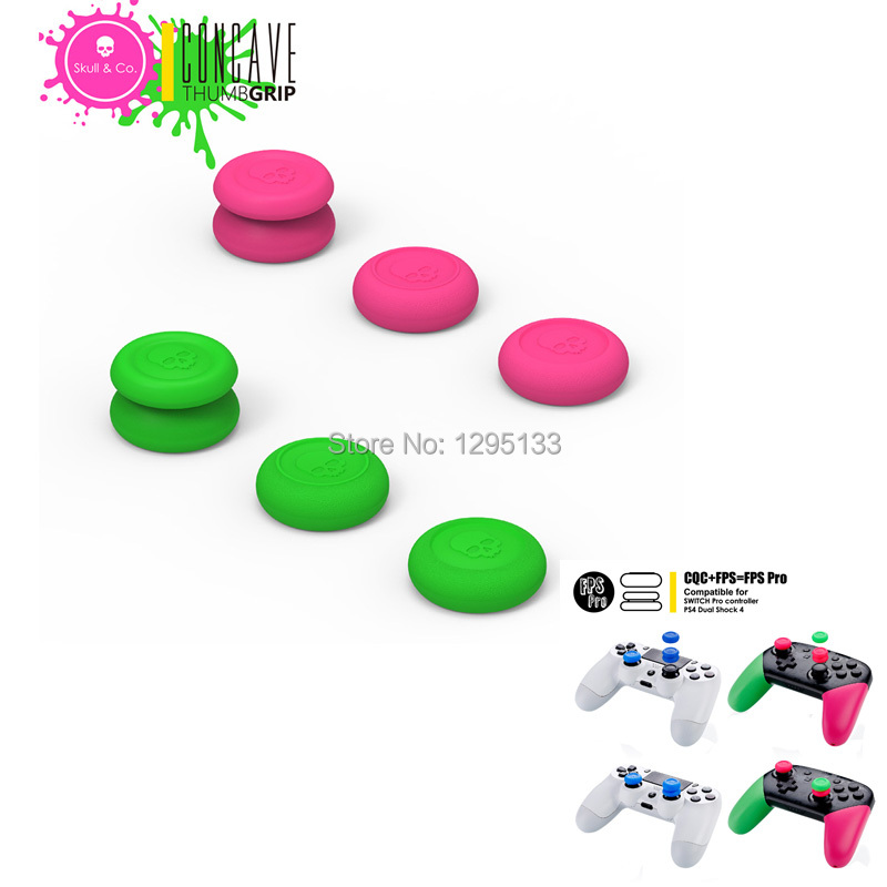 10 Skull CO CQC and FPS Thumb Grips Cover Set Joystick Cap for Nintend Switch NS