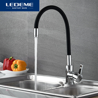 LEDEME Chrome Finish Kitchen Sink Faucet Single Handle Polished Taps Brass Mounted Mixer Water Taps Basin