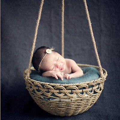 Chic newborn photography prop basket posing nest baby posing photo prop bowl hanging basketbaby posing prop in blanket swaddling from mother kids on