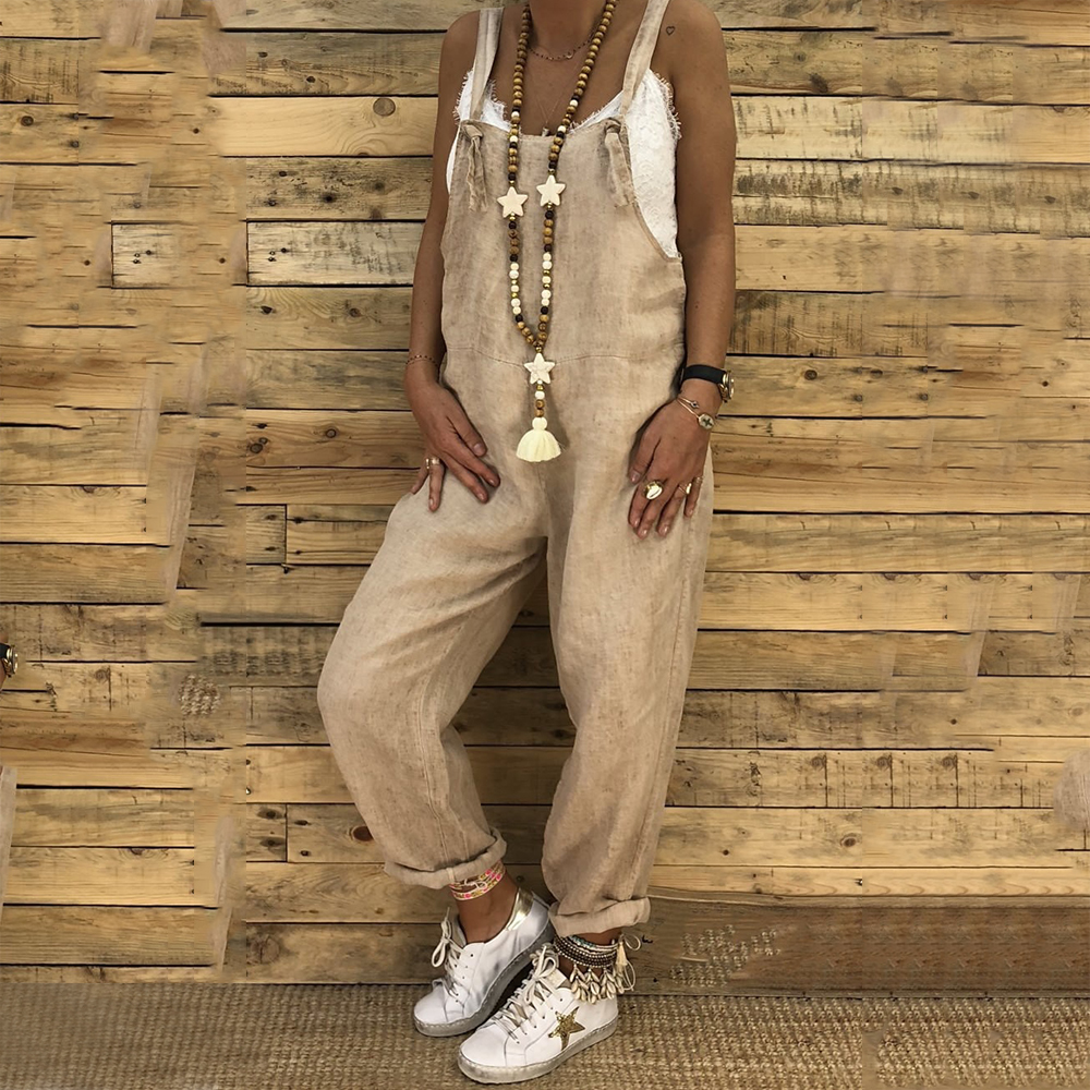 Cotton Linen Women's Sleeveless   Jumpsuits   Vintage Solid Loose Rompers Overalls Pockets Harem   Jumpsuit   Spring Plus Size