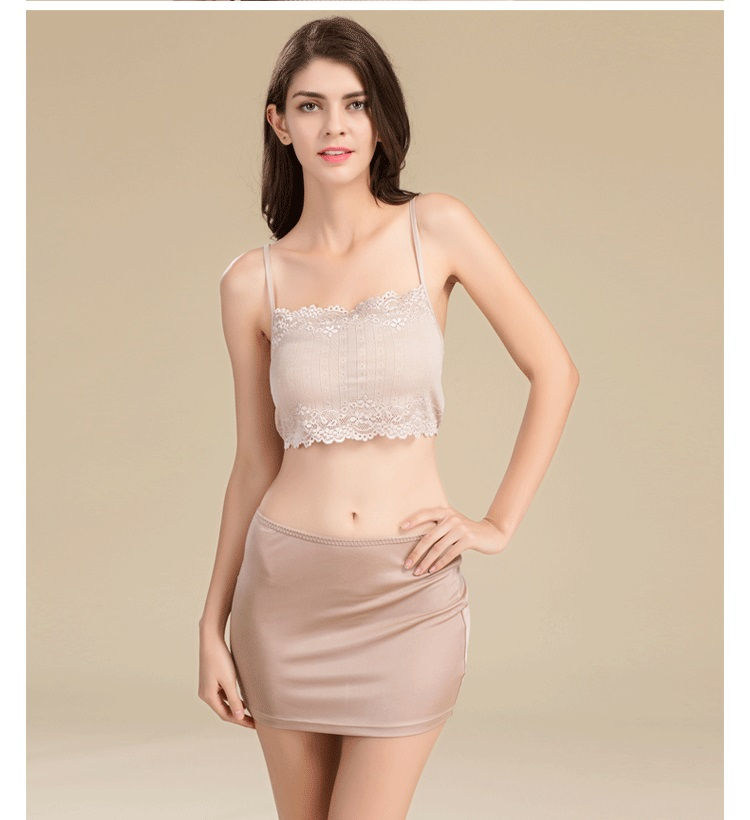 100% Real Silk Women's Tube Tops Femme Shoulder Sleeve Women Sexy Lace Wrap Chest Female Solid Wild Bottoming Woman 13