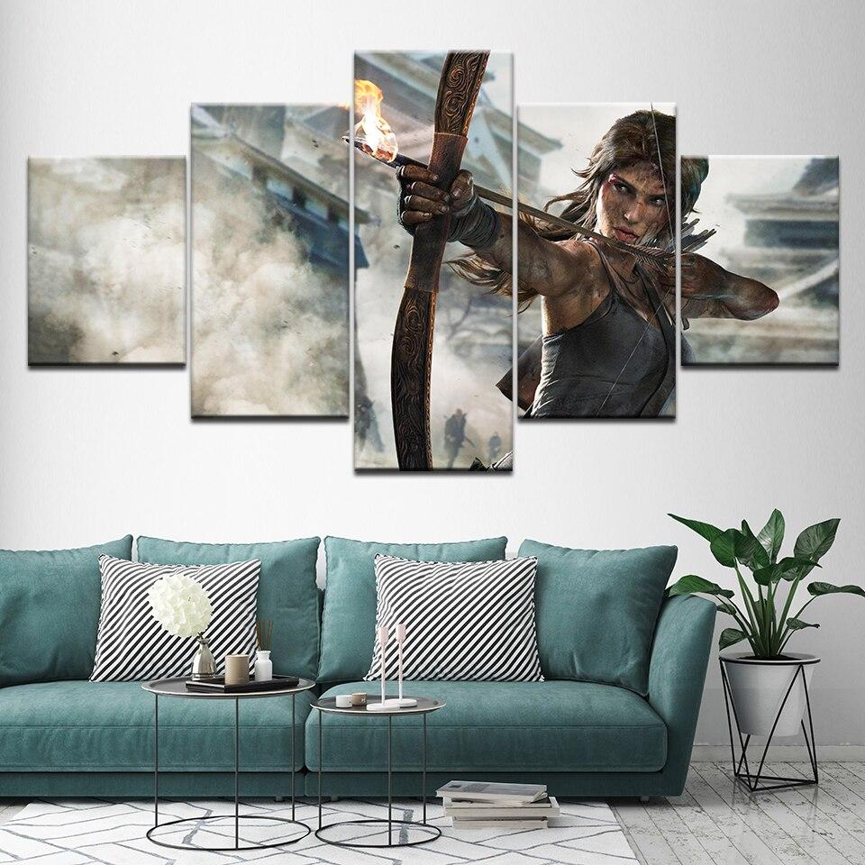 Tela Pittura Sogno Shadow of the Tomb Raider gioco 5 Pezzi di Arte Della Parete Pittura Sfondi Modulare Stampa Poster Home Decor