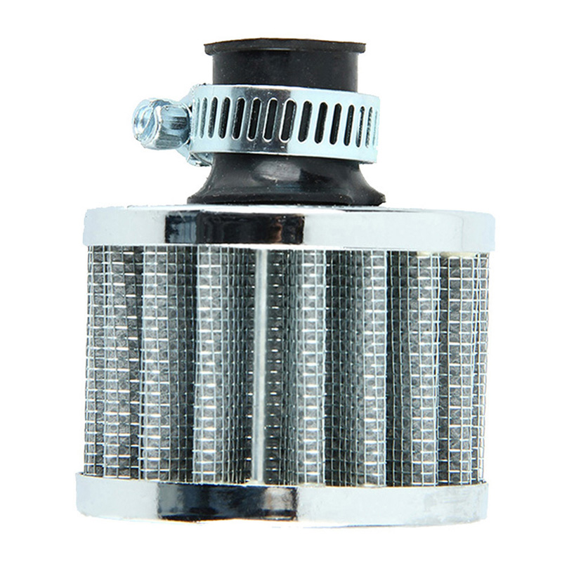 Dia 12mm Silver Car Auto Motor Vehicle Air Filter Kall luftintag Filter Cleaner Turbo Vent Vevhus Luftfilter Tillbehör