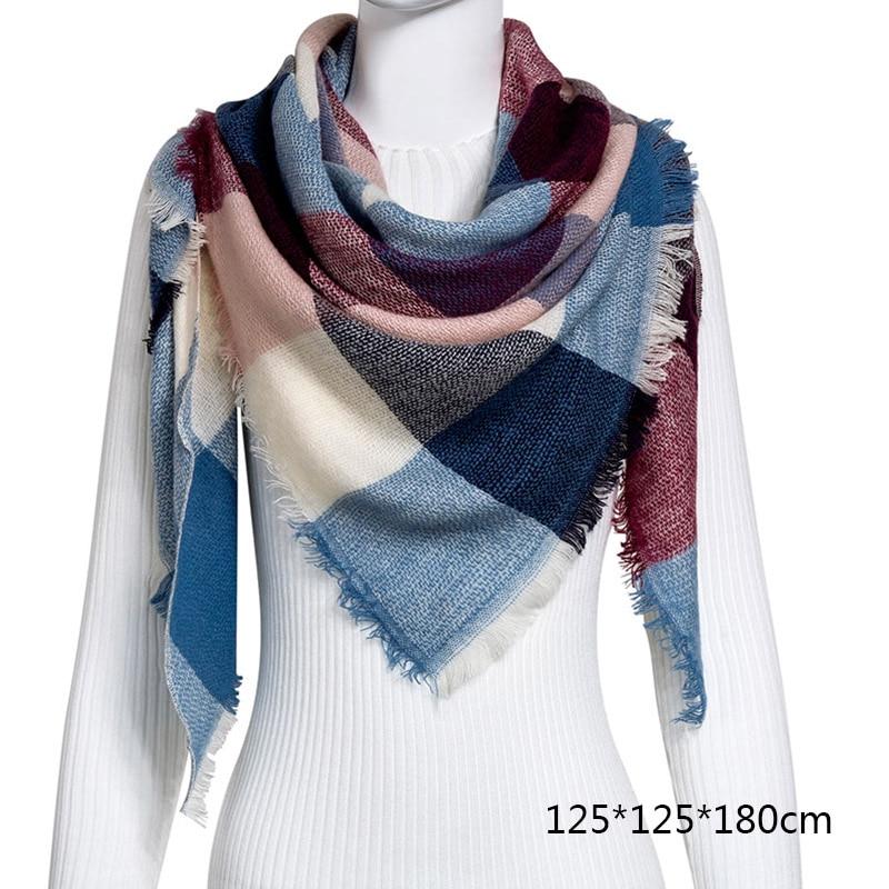 Горячая Распродажа, Модный зимний шарф, Женские повседневные шарфы, Дамское Клетчатое одеяло, кашемировый треугольный шарф,, Прямая поставка - Цвет: B11