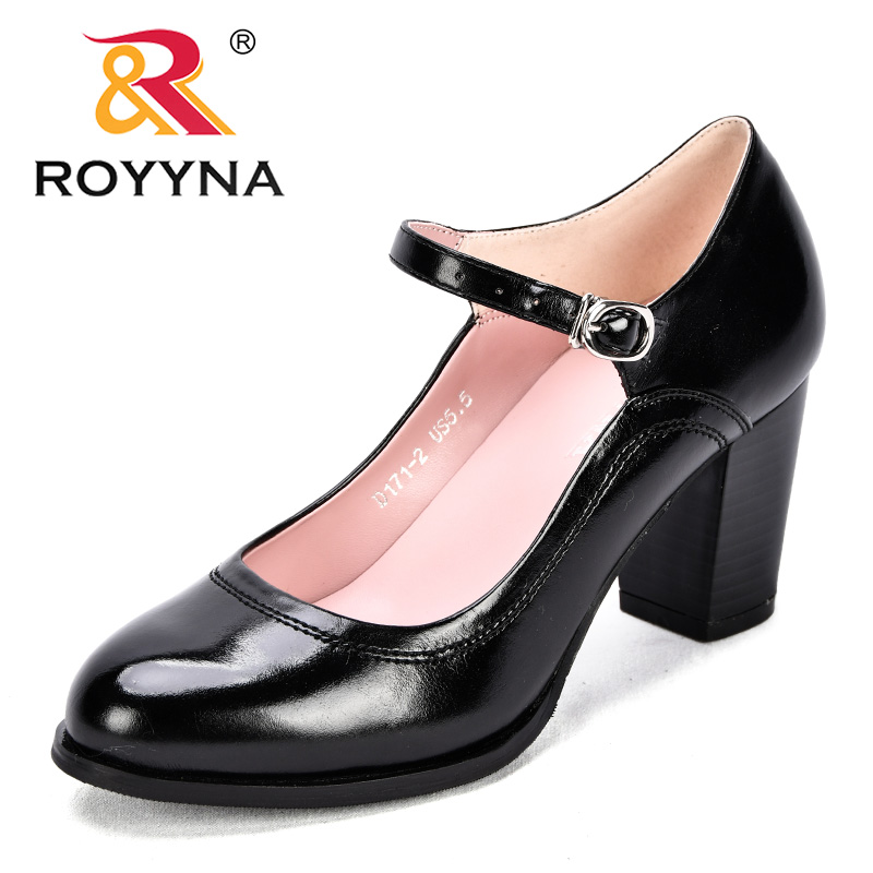 ROYYNA New Popular Style Women Pumps Buckle Strap Synthetic Female Dress Shoes High Heels Comfortable Lady Office Shoes Light