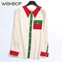 Роскошные Дизайн шелк Бежевый Зеленый Красный контраст Цвет блузка Топ Распечатать поддельные воротник спереди Кнопка вниз молния Назад Д