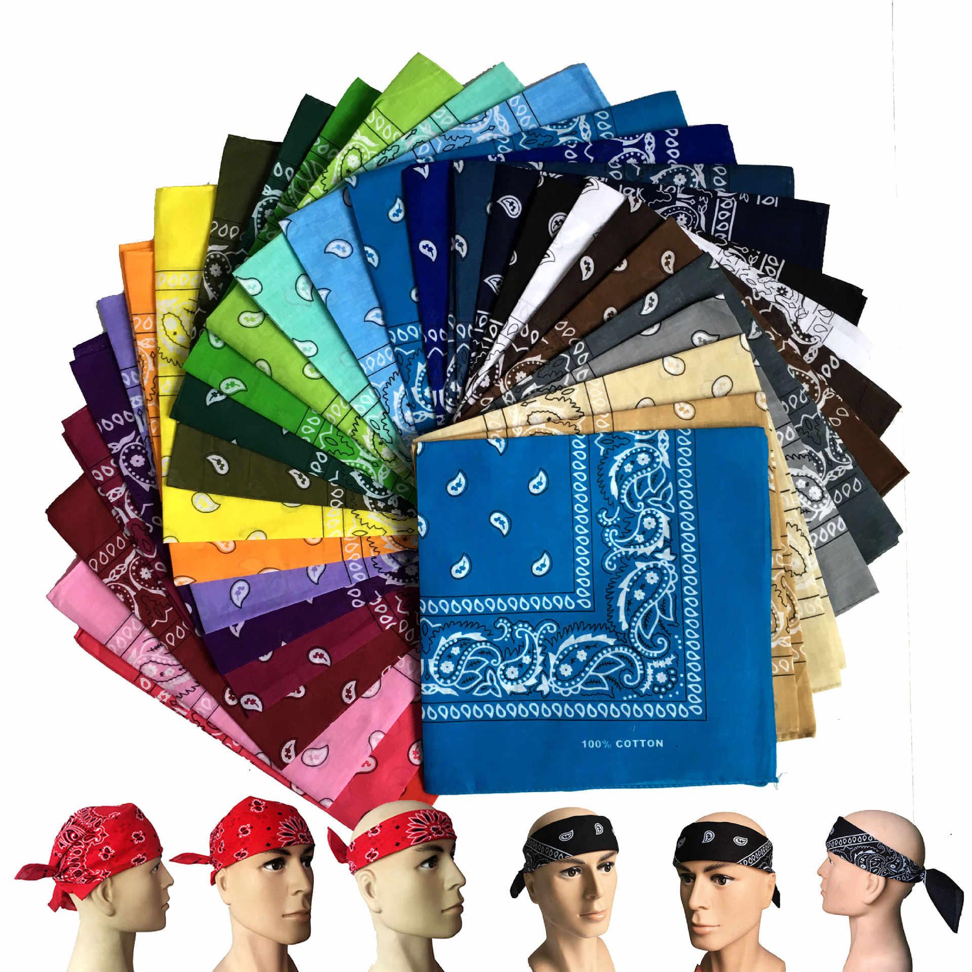 34 kleuren! 55*55 cm Nieuwe Hip-Hop Katoen Gemengd Merk Bandana Voor Mannen Vrouwen Magic Hoofddoek Sjaals Verjaardagscadeau Hoofd sjaal