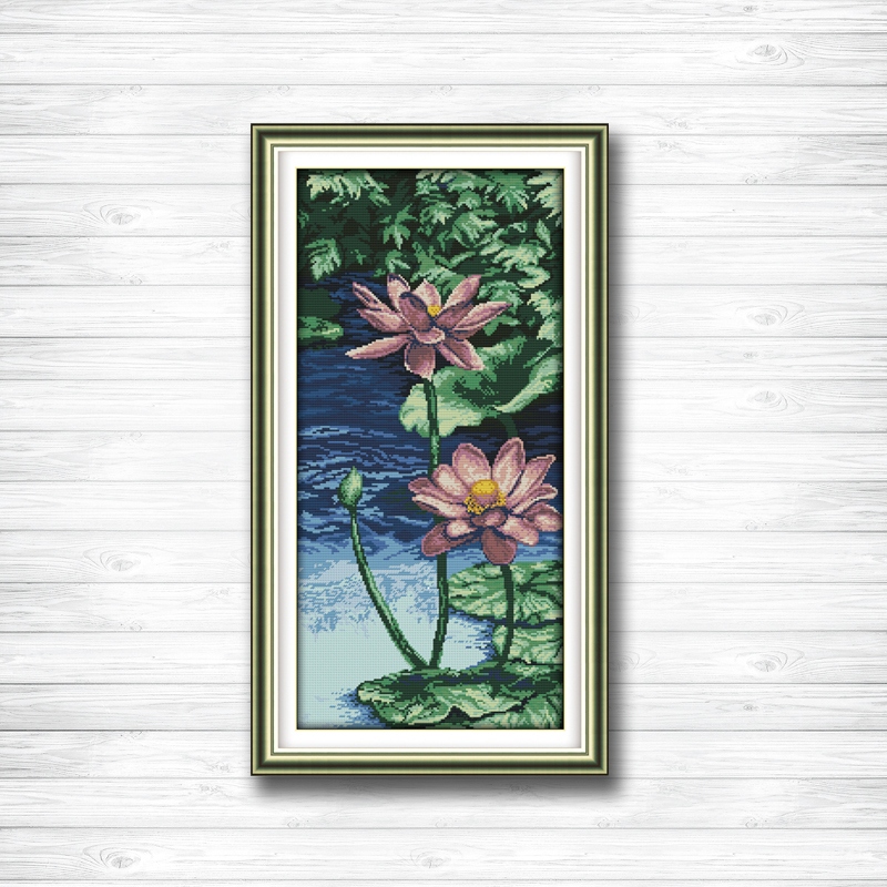 Home & Garden Shop For Cheap Purple Lotus Water Lily Pond Painting Dmc 14ct 11ct Counted Cross Stitch Needlework Set Embroidery Kits Chinese Cross Stitch