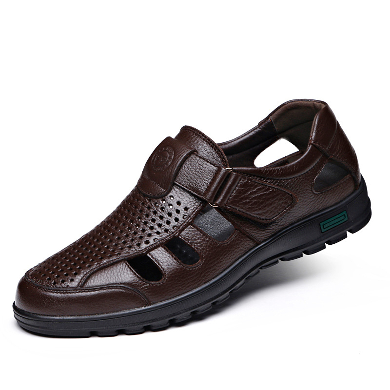 Genuine Leather Men Gladiator Sandals Breathable Summer Male Flat Casual Shoes Black Brown Flats Flip Flop