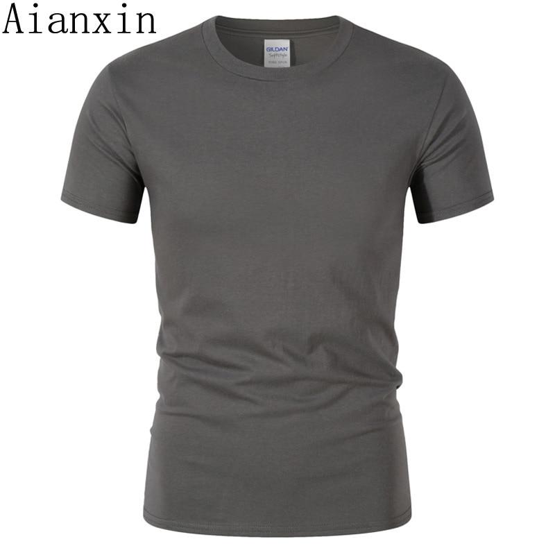 a16b6c5aa1667 AIANXIN бренд 100% хлопок Повседневная футболка лето новая модная футболка  мужская с круглым вырезом удобные