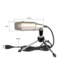 AK-2 High Quality Professional USB Condenser Sound Recording Wired Microphone with Tripod for Radio Braodcasting Singing Black недорого