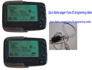 Pocsag paging system receiver,2pc Alpha normal pager,1pc ID programmer cable,personal pager system,wireless waiter call