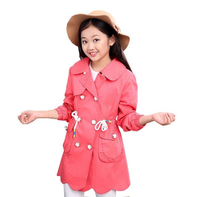 Kids 2016 autumn models girls long-sleeved cardigan jacket big virgin cotton windbreaker