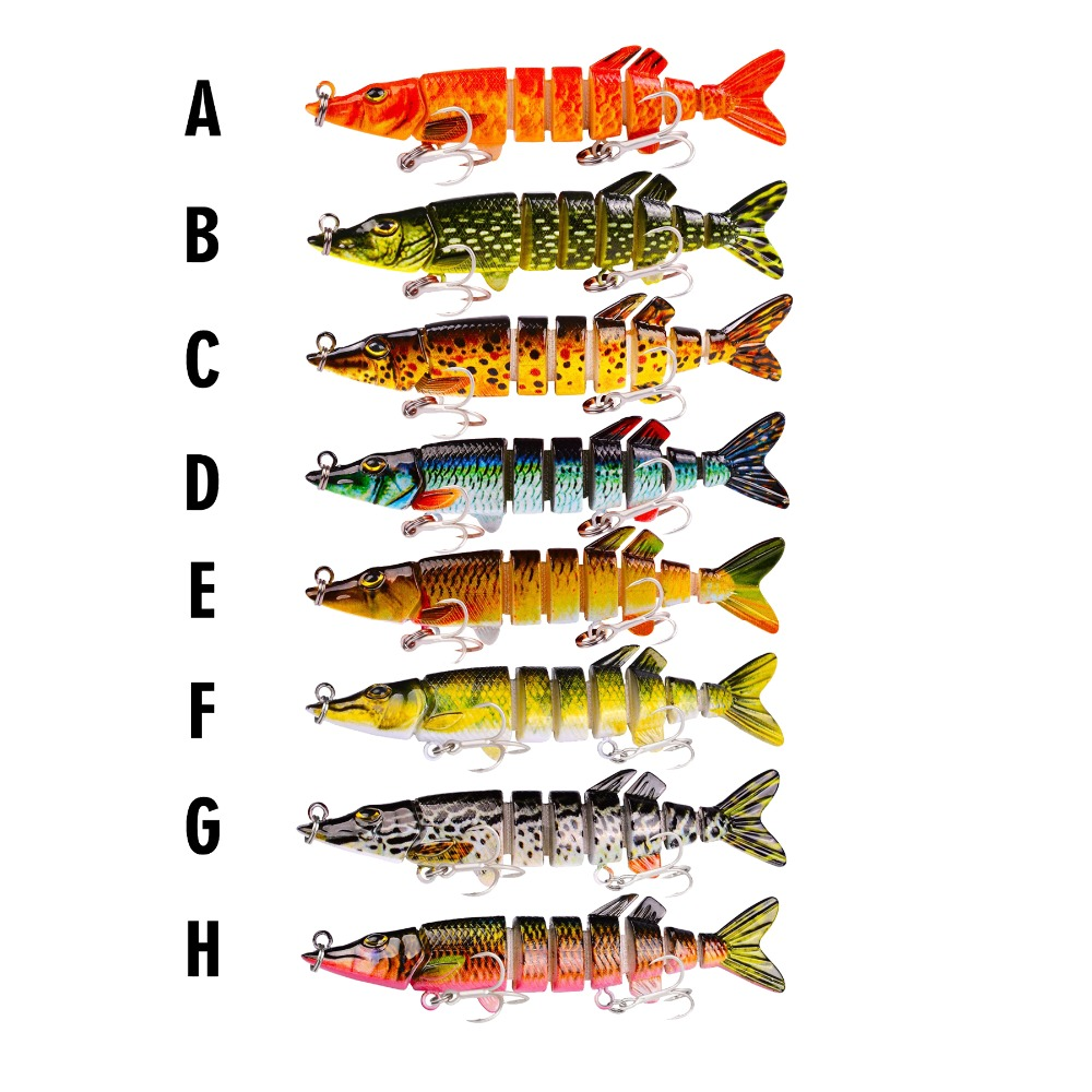 Fishing Lure 8cm 5.3g 8pcs 7 Segments Jointed Swimbait Lures Bass Pike Fishing Biotic Baits