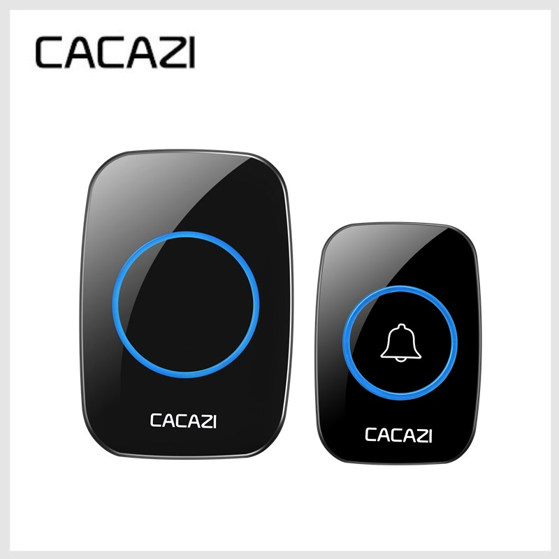 CACAZI EU/US Plug-in No Battery Need Wireless DoorBell Waterproof Battery Door Bell With 1 Doorbells Button +1 Receivers wireless service call bell system popular in restaurant ce passed 433 92mhz full equipment watch pager 1 watch 7 call button