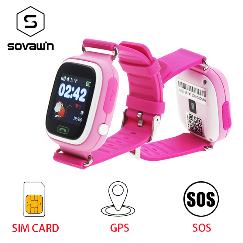 купить Smart Watch Kids Baby GPS SOS Q90 Children Location Tracker Child Wifi Russian Smart Watch Kids Sim Card On Wrist Answer Call недорого