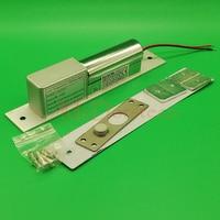 Yüksek kaliteli düşük sıcaklık erişim kontrollü kapı kilidi DC12V güvenli elektrikli yuvarlak sürgü kilidi güvenlik kilidi kapı elektrikli gömme kilit
